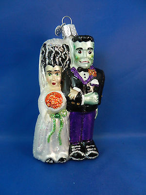 Frankenstein & Bride Merck's Old World Blown Glass Halloween Ornaments 26065