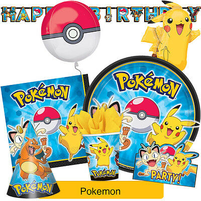 POKEMON Birthday Party Range - Tableware Balloons & Decorations {Amscan}