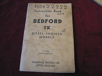 Bedford Tk 1971 Operators Manual W/shop Manual Instruction Book Bedford Tk