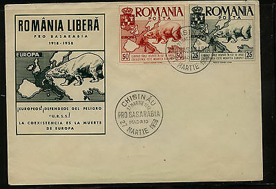 Romania  large Polar Bear stamps on cachet cover  1958   JS1210