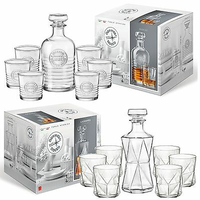 Bormioli Rocco Premium Whiskey Wine Decanter & 6 Glass Tumblers Gift Boxed Set