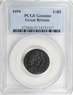 Great Britain 1694 William & Mary Farthing PCGS AU, Scarce Condition!