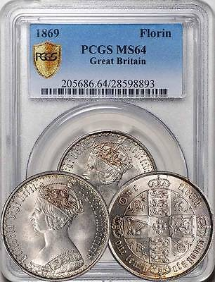Great Britain 1869 Victoria Gothic Florin / 2 Shillings PCGS MS-64 (Rare Date)