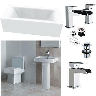 Bathroom Suite Double End Square Bath 1700 Square Toilet & Sink + Waterfall Taps