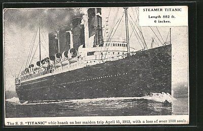 AK Passagierschiff S.S. Titanic whic on her maiden trip April 15, 1912 1912