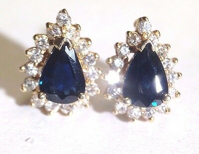 Fine! Natural Sapphire and Diamond Halo 14K Yellow Gold Stud Earrings