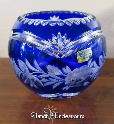 Cobalt Blue Cut to Clear Lead Crystal Rose Bowl Lausitzer Glas