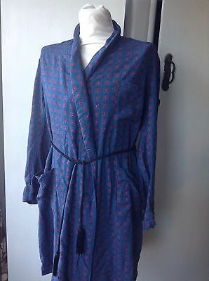 Vintage Tootal Overnight ear Dressing Gown Blue Graphic Print Large