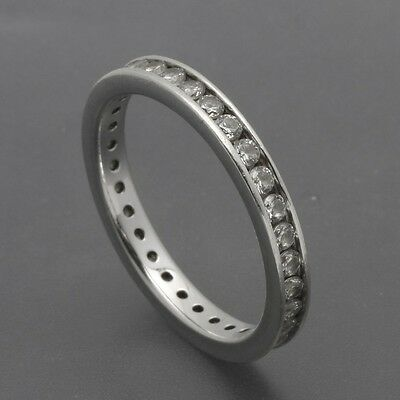 Diamonique Sterling Silver Channel-Set Round CZ Eternity Band Ring Size 9
