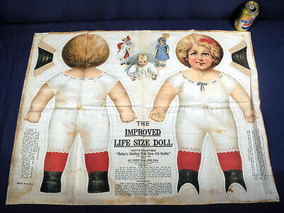 Vtg Antique Linen Cloth Uncut Sheet Art Fabric Mills Life Size Doll Dollie c1890