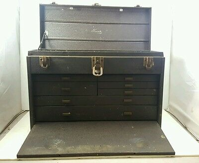 Vintage KENNEDY STEEL MACHINIST Complete TOOL CHEST with 7 Drawers Used Metal