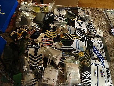 Military Patch Lot Set Shoe Box Full Of Rank Insignia Patches Ribbons Medals Etc