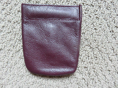 Coin Snap Change Purse - Burgandy  Leather - Real Strong Snap !!!