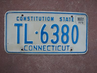 """Connecticut 1978  License Plate """" Tl  6380 """" Constitution State  Ct 78"""