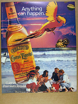 1985 Jose Cuervo Especial Tequila bottle parrot beach photo vintage print Ad