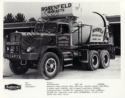1964 AUTOCAR DC103-OH ROSENFELD S&S CO. MIXER Truck 8x10 B&W PHOTO, Milford, MA