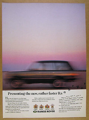 1988 Range Rover Classic 'the new, rather faster' blurred photo vintage print Ad