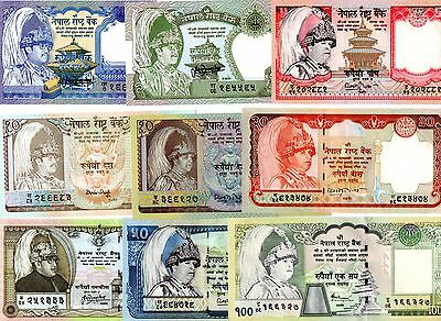 NEPAL 1/ 2 /5 /10 x 2 /20 /25 /50 and 100 Rupees- Set of 9 Crisp UNC Banknotes