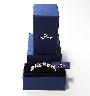 NEW Swarovski Intervale Stainless Steel Crystal Bangle Bracelet Silver Leather