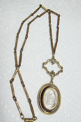 Antique Gold Filled Intaglio Cameo Necklace