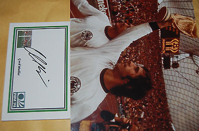 Gerd Muller 1974 World Cup Win 10X8 Photo With  Signed White  Card 1