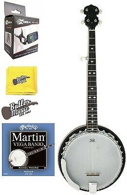 5 String Bluegrass Resonator Banjo w/Martin Strings , Tuner + More BJM30 DLX