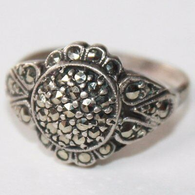 Antique Victorian Style Sterling Silver Ornate Ring, Marcasite Stones Ring