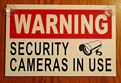 """WARNING SECURITY CAMERAS IN USE SIGN 8""""x12""""   NEW with Suction Cups Surveillance"""