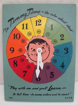 VINTAGE SIFO I'M TIMMY TIME the color wheel clock WOOD PUZZLE LEARN TO TELL TIME