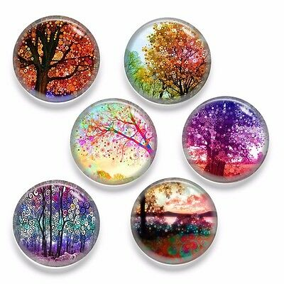 6pcs Glass Tree Colorful Painting Round Cameo Cabochon 25mm