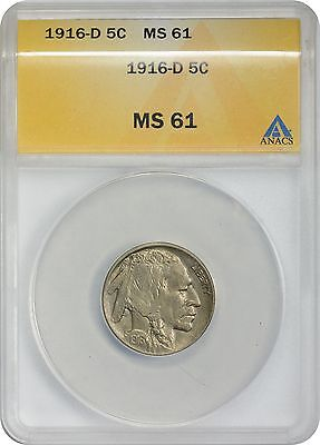 1916-D Buffalo Nickel MS61 ANACS Mint State 61