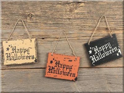 Lot of 3 Halloween Fall Hanging Signs NWT Happy Halloween Primitive Rustic