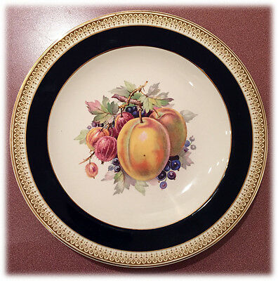 CROWN DUCAL Gold & Blue Apricots Quince Berry FRUIT PLATE Made in England CRD84