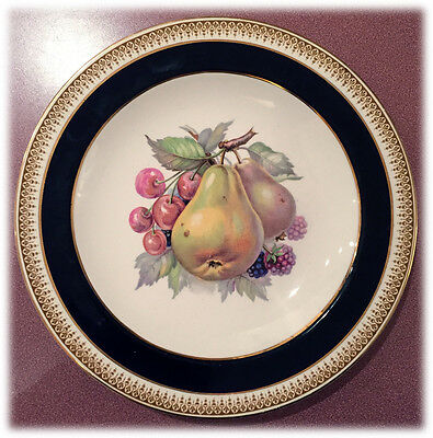 CROWN DUCAL Gold & Blue Pears Cherries FRUIT PLATE Made in England CRD84