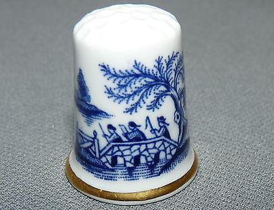 "Blue and White Bone China Thimble ""Willow"" Staffordshire England Gold Trim"