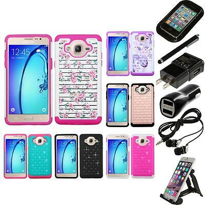 For Samsung Galaxy On5 Rhinestone Rugged Armor Bling Case Phone Cover Bundle
