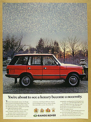 1989 Range Rover Classic red suv snow falling photo vintage print Ad