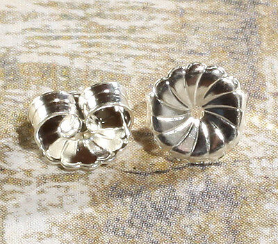 7mm Sterling Silver Large Safety Friction Earring Backs Stoppers Ear Nuts PAIR