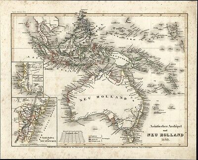 Australia New Holland Philippines c.1849 Meyer scarce detailed antique map