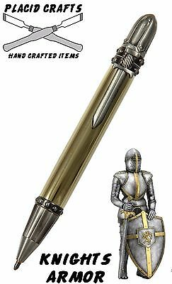 Knights Armor Ball Point with Raw Brass Body & Antique Pewter Hardware / #099