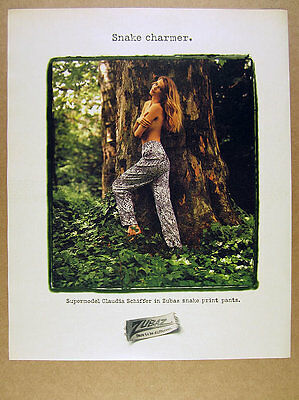 1990 claudia schiffer topless photo Zubaz snake print pants vintage print Ad