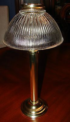 PartyLite Library Gas Light Brass Lamp with Pleated Glass Shade