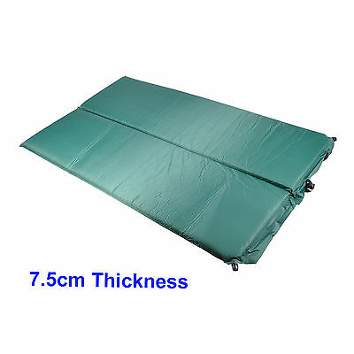 7.5cm Double Sleeping Self Inflating Camping Mat Dark Green