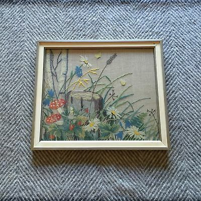 Vintage Swedish Embroidered Picture Wall Hanging Handicraft Flowers Mushrooms
