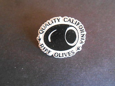 Vintage Quality California Ripe Olives Plastic Advertising Lapel Pin