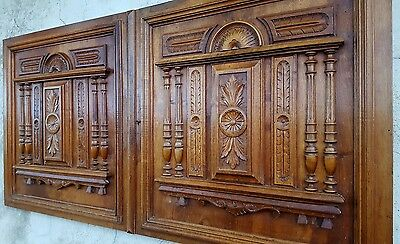 2 RENAISSANCE WALNUT CABINET DOOR 25 IN ANTIQUE FRENCH CARVED WOOD PANEL 19 th
