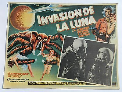 Vintage Very Rare Missile To The Moon Mexican Lobby Card Sci-Fi Richard Travis
