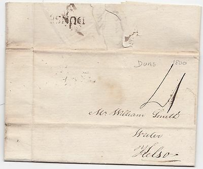 * 1800 Duns Berwickshire Pre-Stamp Letter Thomas Turnbull >William Smith @ Kelso