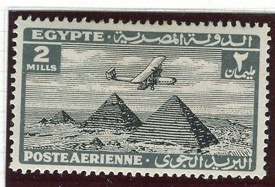 EGYPT;   1933-8 early AIRMAIL issue fine Mint hinged 2m. value