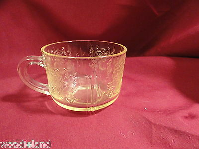 Vintage Yellow Primo Depression Glass Cup Mint Topaz US Glass Paneled Aster